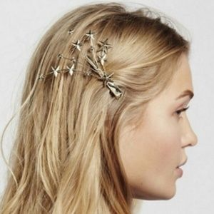 Free People 3D Shooting Star Gold Hair Clip New